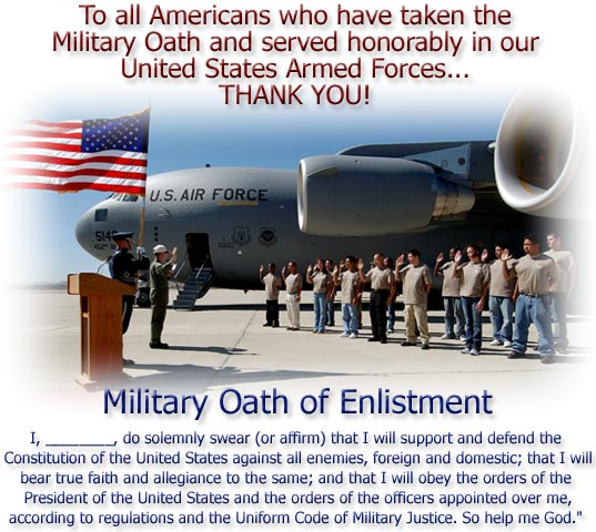 U.S Air Force Maj. Gen. David Tanzi, Vice Commander of the Air Force Reserve, gives the enlistment oath to new enlistees in front of a new C-17A Globemaster aircraft.