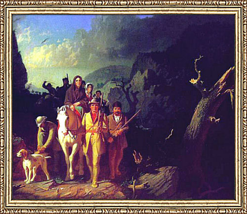 Daniel Boone and Company Traveling Through Cumberland Gap