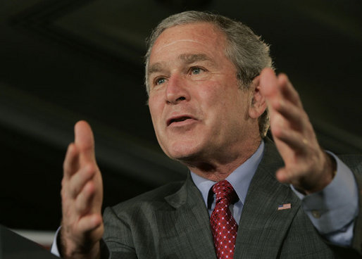 President George W. Bush gestures as he addresses an audience Tuesday, June 27, 2006 in Washington, calling on the U.S. Senate and members of the House of Representatives to quickly pass proposed Line-Item Veto legislation. White House photo by Paul Morse.