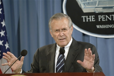 Secretary of Defense Donald Rumsfeld, Defense Dept. photo by James M. Bowman.